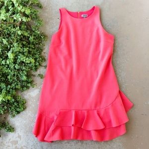 Chelsea28 Coral Asymmetrical Ruffle Shift Dress